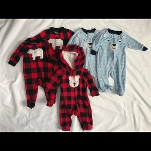 Set of Matching Carters Newborn Fleece Pajamas